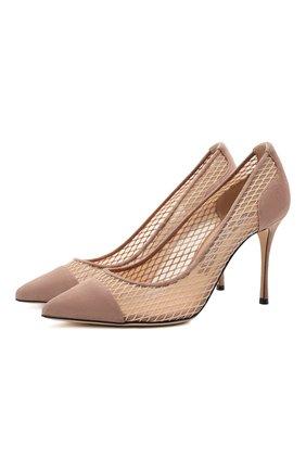 Женские комбинированные туфли godiva SERGIO ROSSI бежевого цвета, арт. A89580-MFI302 | Фото 1