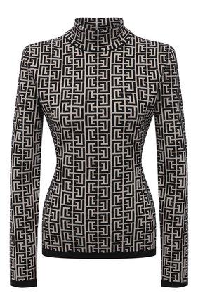 Женский пуловер из шерсти и вискозы BALMAIN черно-белого цвета, арт. VF0KF000/K253 | Фото 1