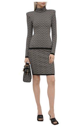 Женский пуловер из шерсти и вискозы BALMAIN черно-белого цвета, арт. VF0KF000/K253 | Фото 2