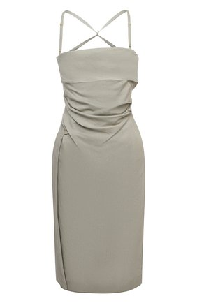Женское платье из льна и вискозы JACQUEMUS светло-серого цвета, арт. 211DR14/111530 | Фото 1