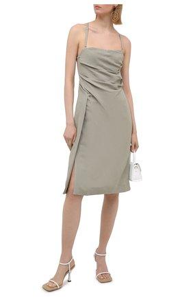 Женское платье из льна и вискозы JACQUEMUS светло-серого цвета, арт. 211DR14/111530 | Фото 2