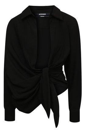 Женская рубашка из вискозы JACQUEMUS черного цвета, арт. 211SH02/102990 | Фото 1