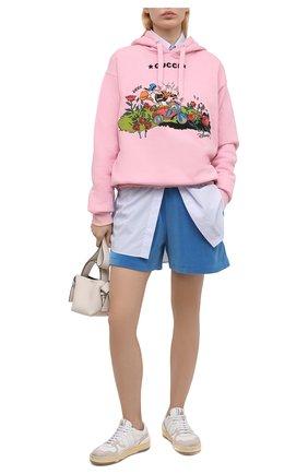 Женские хлопковые шорты GUCCI синего цвета, арт. 650630/XJDCV   Фото 2