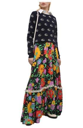 Женская юбка из вискозы GUCCI разноцветного цвета, арт. 652660/ZAGH5 | Фото 2 (Длина Ж (юбки, платья, шорты): Макси; Материал внешний: Вискоза; Стили: Гламурный; Женское Кросс-КТ: Юбка-одежда)