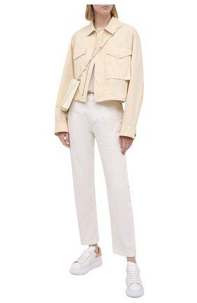 Женские кожаные кеды ALEXANDER MCQUEEN бежевого цвета, арт. 553770/WHGP7 | Фото 2 (Материал внутренний: Натуральная кожа; Подошва: Платформа)