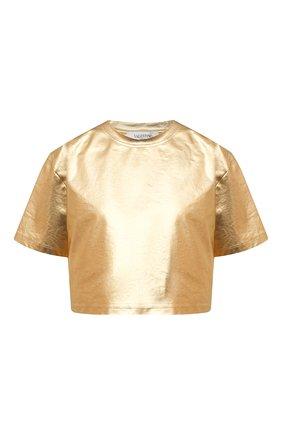 Женская хлопковая футболка VALENTINO золотого цвета, арт. VB3MG11U6A6 | Фото 1