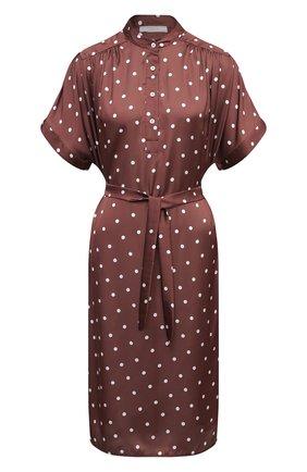Женское платье TAK.ORI коричневого цвета, арт. DRT82024PL100SS21 | Фото 1 (Длина Ж (юбки, платья, шорты): До колена; Рукава: Короткие; Материал внешний: Синтетический материал; Стили: Кэжуэл; Женское Кросс-КТ: Платье-одежда, платье-рубашка; Случай: Повседневный)