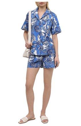 Женская хлопковая рубашка TAK.ORI голубого цвета, арт. JKT82027C0100SS21 | Фото 2 (Длина (для топов): Стандартные; Рукава: Короткие; Материал внешний: Хлопок; Стили: Кэжуэл; Женское Кросс-КТ: Рубашка-одежда; Принт: С принтом)