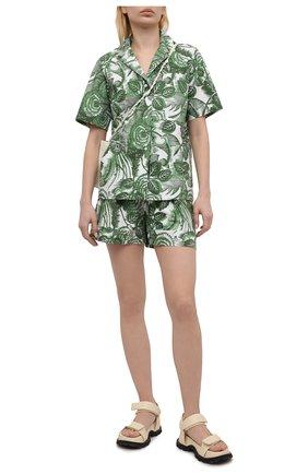 Женская хлопковая рубашка TAK.ORI разноцветного цвета, арт. JKT82027C0100SS21 | Фото 2 (Длина (для топов): Стандартные; Материал внешний: Хлопок; Рукава: Короткие; Стили: Кэжуэл; Принт: С принтом; Женское Кросс-КТ: Рубашка-одежда)