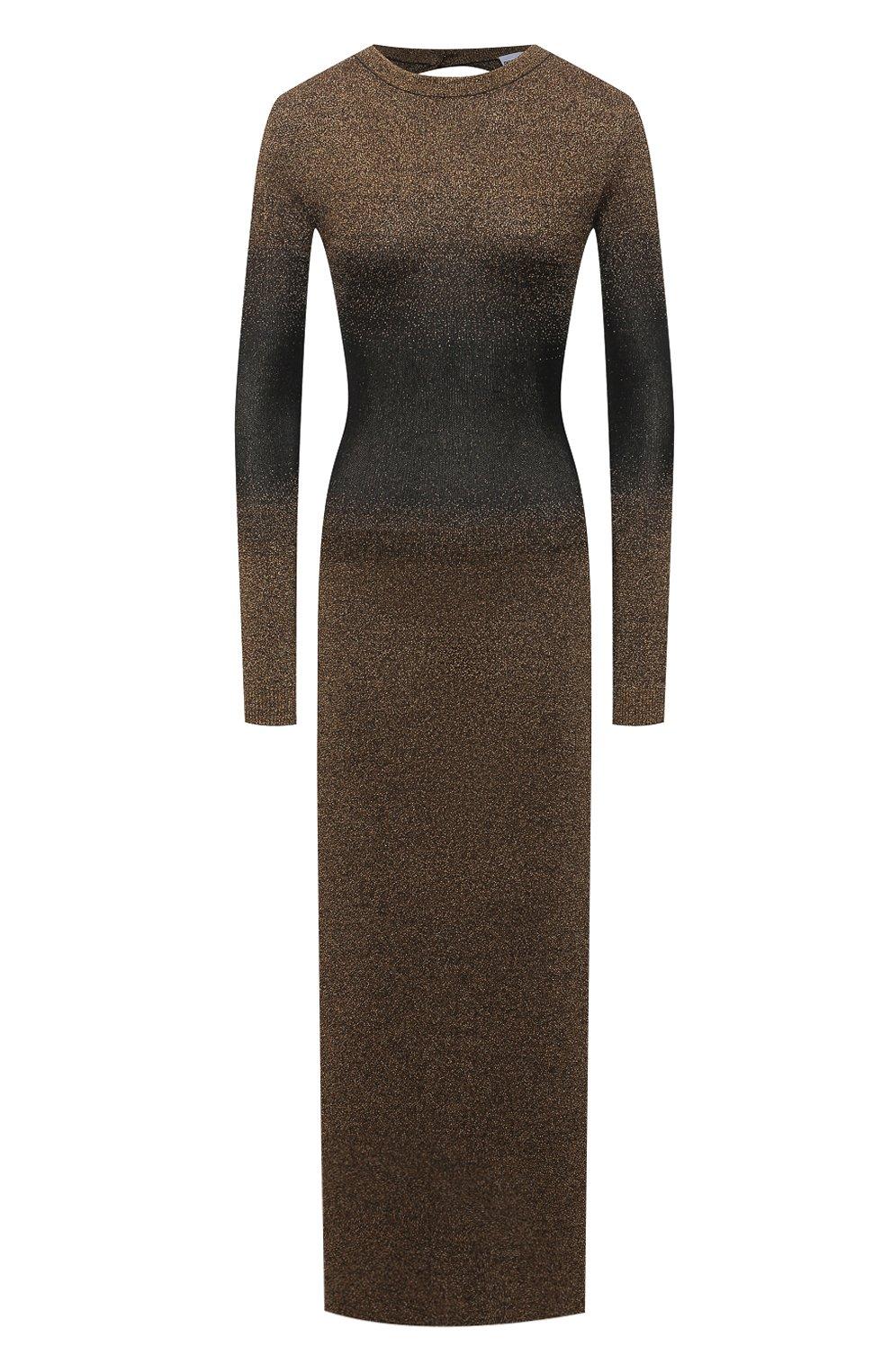 Женское платье PACO RABANNE бронзового цвета, арт. 21PMR0317ML0065 | Фото 1 (Рукава: Длинные; Стили: Гламурный; Случай: Вечерний; Материал внешний: Синтетический материал, Вискоза; Кросс-КТ: Трикотаж; Длина Ж (юбки, платья, шорты): Макси; Женское Кросс-КТ: Платье-одежда)
