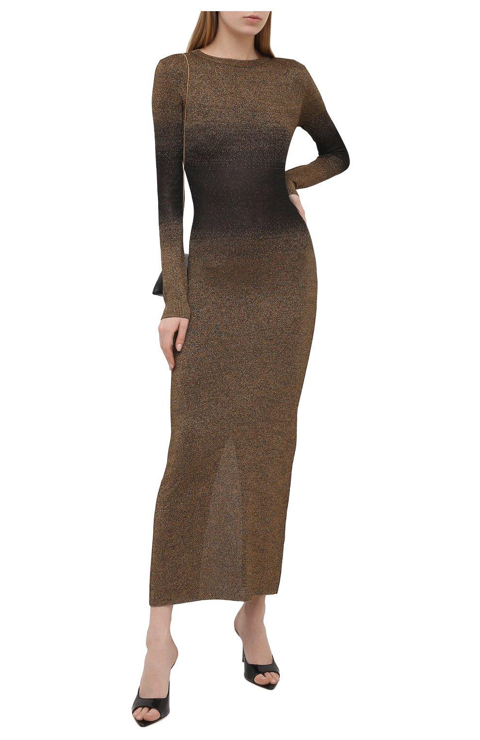Женское платье PACO RABANNE бронзового цвета, арт. 21PMR0317ML0065 | Фото 2 (Рукава: Длинные; Стили: Гламурный; Случай: Вечерний; Материал внешний: Синтетический материал, Вискоза; Кросс-КТ: Трикотаж; Длина Ж (юбки, платья, шорты): Макси; Женское Кросс-КТ: Платье-одежда)