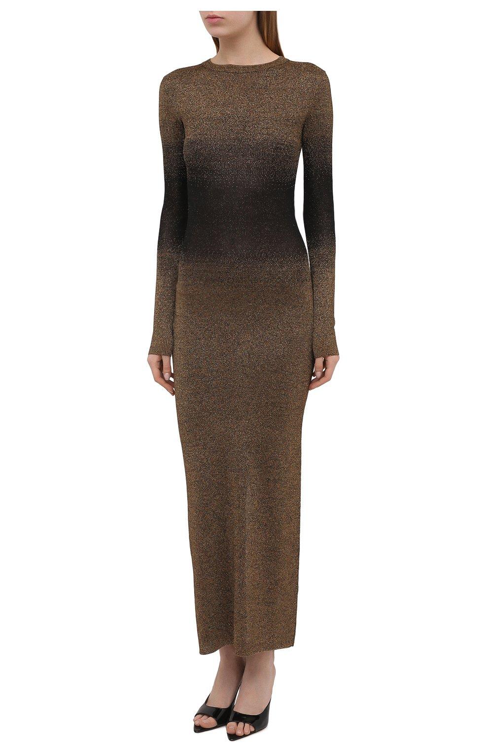 Женское платье PACO RABANNE бронзового цвета, арт. 21PMR0317ML0065 | Фото 3 (Рукава: Длинные; Стили: Гламурный; Случай: Вечерний; Материал внешний: Синтетический материал, Вискоза; Кросс-КТ: Трикотаж; Длина Ж (юбки, платья, шорты): Макси; Женское Кросс-КТ: Платье-одежда)