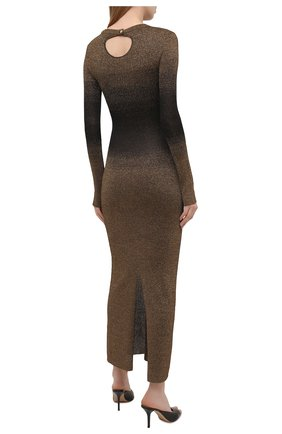 Женское платье PACO RABANNE бронзового цвета, арт. 21PMR0317ML0065 | Фото 4 (Рукава: Длинные; Стили: Гламурный; Случай: Вечерний; Материал внешний: Синтетический материал, Вискоза; Кросс-КТ: Трикотаж; Длина Ж (юбки, платья, шорты): Макси; Женское Кросс-КТ: Платье-одежда)