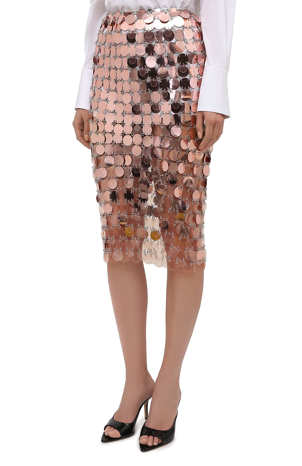 Женская юбка PACO RABANNE розового цвета, арт. 21PIJU195PS0138   Фото 3