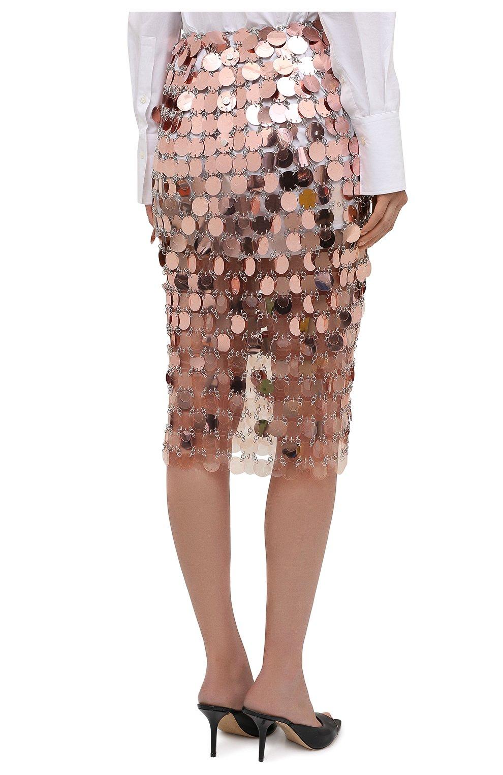 Женская юбка PACO RABANNE розового цвета, арт. 21PIJU195PS0138   Фото 4