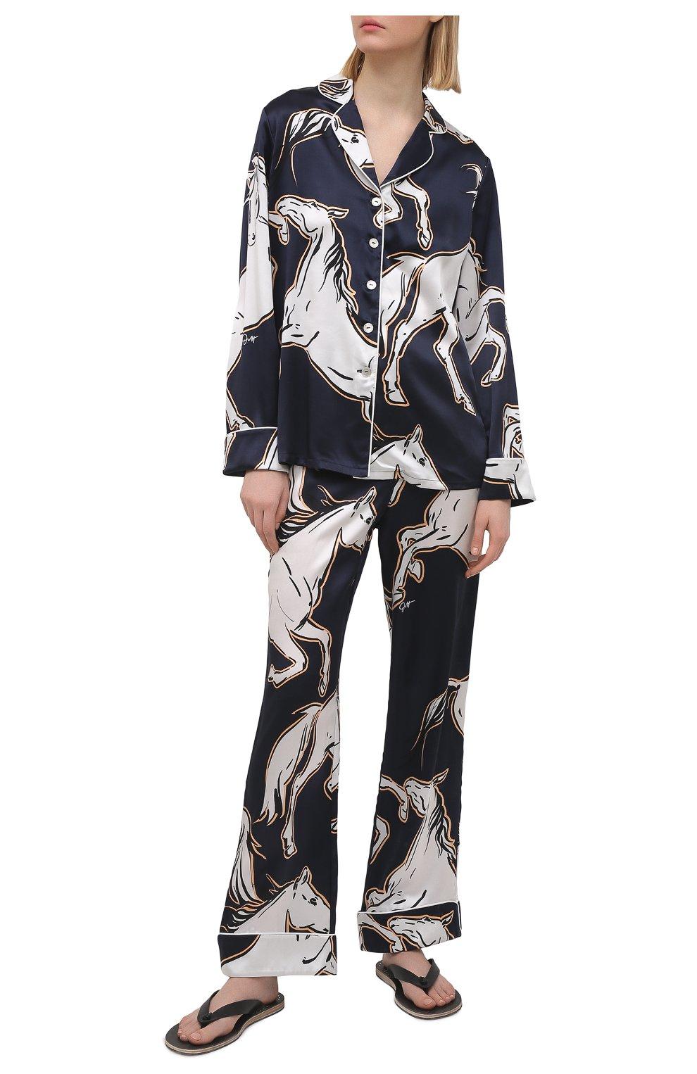 Женская шелковая пижама OLIVIA VON HALLE синего цвета, арт. SS2103   Фото 1