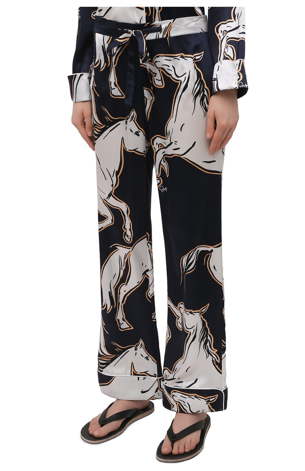Женская шелковая пижама OLIVIA VON HALLE синего цвета, арт. SS2103   Фото 4