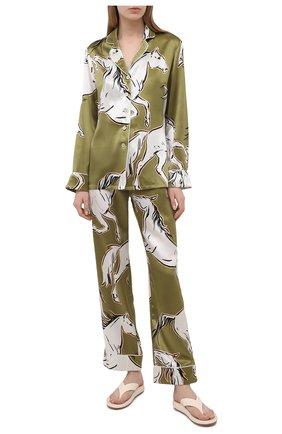 Женская шелковая пижама OLIVIA VON HALLE зеленого цвета, арт. SS2102   Фото 1