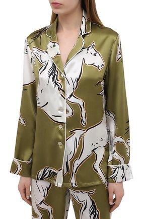 Женская шелковая пижама OLIVIA VON HALLE зеленого цвета, арт. SS2102   Фото 2