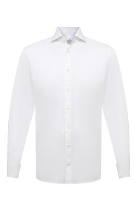 Мужская хлопковая сорочка VAN LAACK белого цвета, арт. RIVARA-DTF/130872 | Фото 1 (Длина (для топов): Стандартные; Рукава: Длинные; Материал внешний: Хлопок; Принт: Однотонные; Стили: Классический; Манжеты: Под запонки; Случай: Вечерний; Воротник: Акула; Рубашки М: Regular Fit)