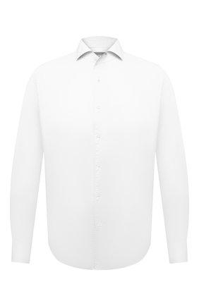 Мужская хлопковая сорочка CORNELIANI белого цвета, арт. 87P156-1111269/00 | Фото 1 (Материал внешний: Хлопок; Длина (для топов): Стандартные; Случай: Формальный; Рубашки М: Slim Fit; Стили: Классический; Воротник: Акула; Рукава: Длинные; Принт: Однотонные; Манжеты: На пуговицах)