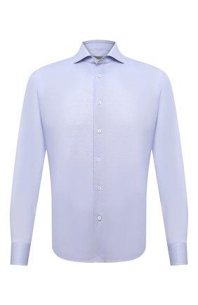 Мужская хлопковая сорочка CORNELIANI голубого цвета, арт. 87P112-1111213/00 | Фото 1 (Длина (для топов): Стандартные; Материал внешний: Хлопок; Рукава: Длинные; Принт: Однотонные; Случай: Формальный; Стили: Классический; Манжеты: На пуговицах; Воротник: Акула; Рубашки М: Regular Fit)