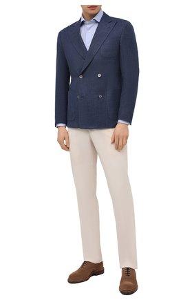 Мужская хлопковая сорочка CORNELIANI голубого цвета, арт. 87P112-1111213/00 | Фото 2 (Длина (для топов): Стандартные; Материал внешний: Хлопок; Рукава: Длинные; Принт: Однотонные; Случай: Формальный; Стили: Классический; Манжеты: На пуговицах; Воротник: Акула; Рубашки М: Regular Fit)
