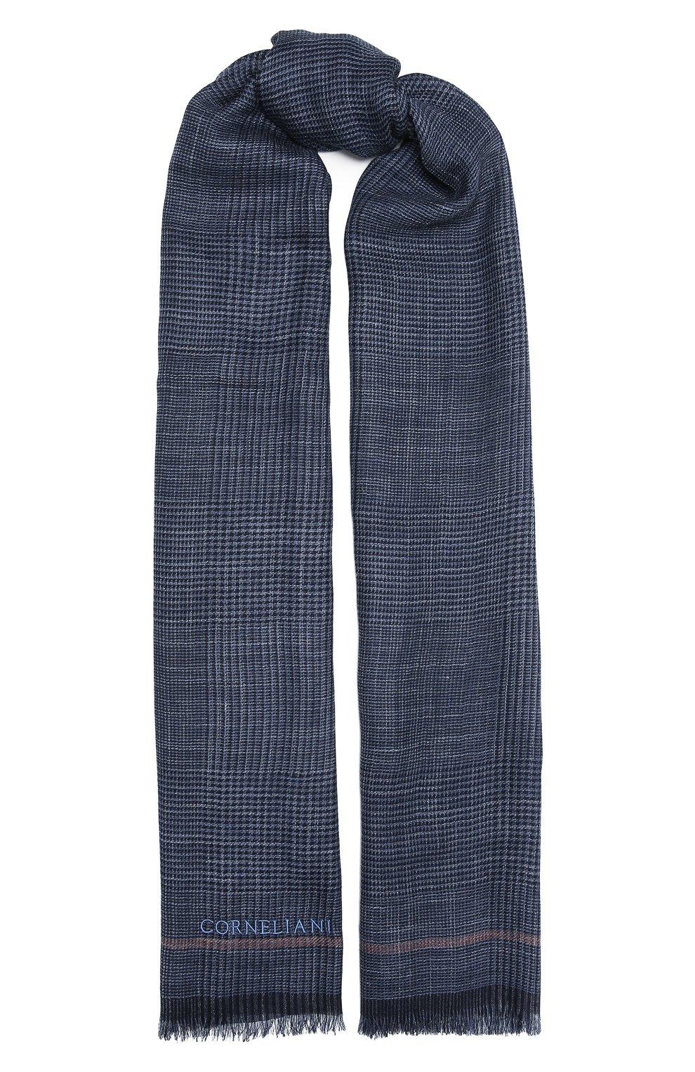 Мужской шарф из шелка и льна CORNELIANI темно-синего цвета, арт. 87B311-1129061/00 | Фото 1