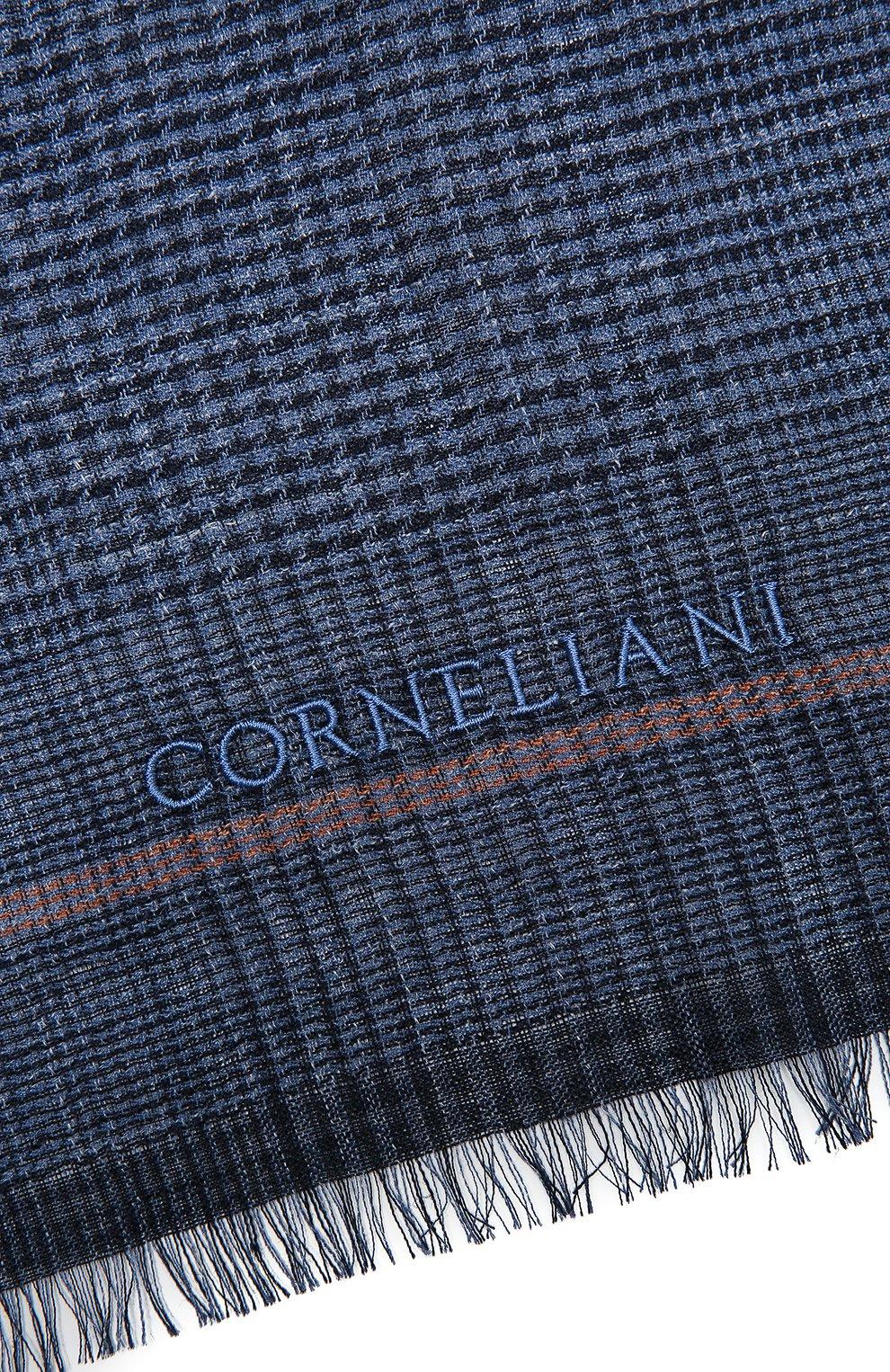 Мужской шарф из шелка и льна CORNELIANI темно-синего цвета, арт. 87B311-1129061/00 | Фото 2