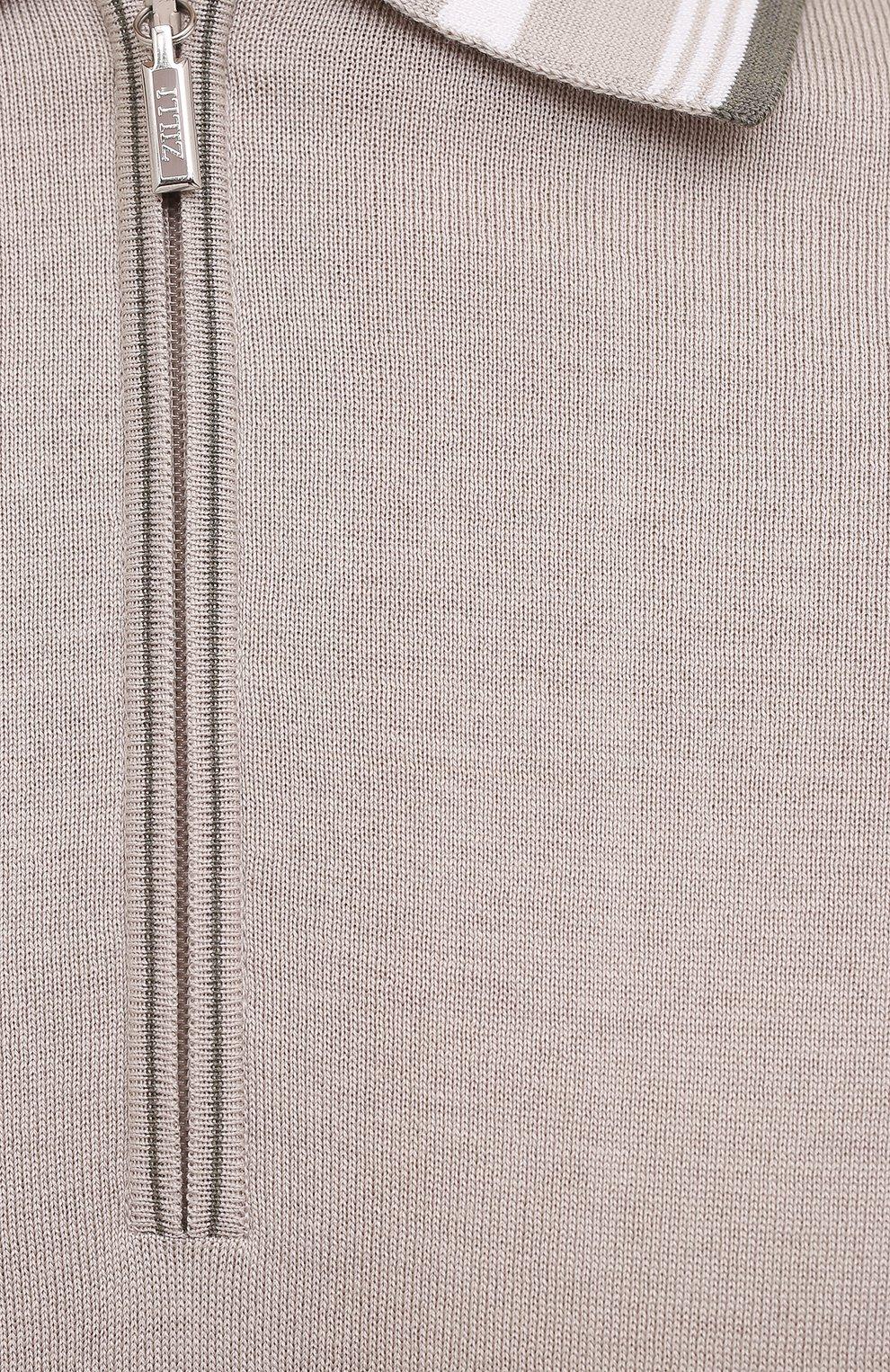 Мужское поло из хлопка и шелка ZILLI бежевого цвета, арт. MBV-PZ002-C0SE1/MC01 | Фото 5