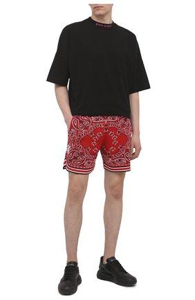 Мужские шорты из хлопка и кашемира AMIRI красного цвета, арт. MKB001-610   Фото 2