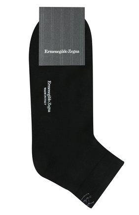 Мужские хлопковые носки ERMENEGILDO ZEGNA черного цвета, арт. N5V024060 | Фото 1