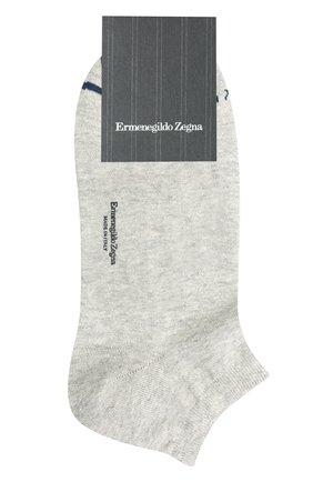 Мужские носки изо льна и хлопка ERMENEGILDO ZEGNA серого цвета, арт. N5V024030 | Фото 1