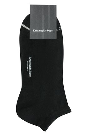 Мужские носки изо льна и хлопка ERMENEGILDO ZEGNA черного цвета, арт. N5V024030 | Фото 1