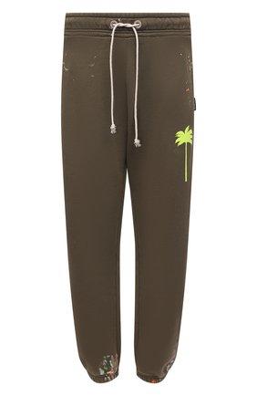 Мужские хлопковые джоггеры PALM ANGELS хаки цвета, арт. PMCH011S21FLE0035618 | Фото 1 (Длина (брюки, джинсы): Стандартные; Материал внешний: Хлопок; Силуэт М (брюки): Джоггеры; Мужское Кросс-КТ: Брюки-трикотаж; Стили: Спорт-шик)
