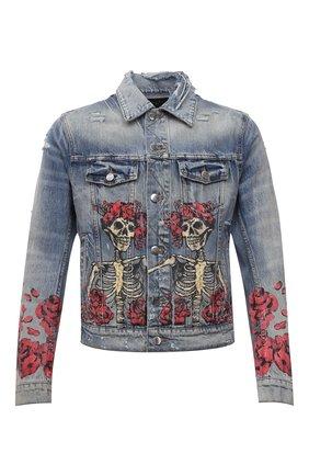 Мужская джинсовая куртка AMIRI синего цвета, арт. MDT005-408 | Фото 1 (Рукава: Длинные; Длина (верхняя одежда): Короткие; Материал внешний: Хлопок; Кросс-КТ: Куртка, Деним; Стили: Панк)