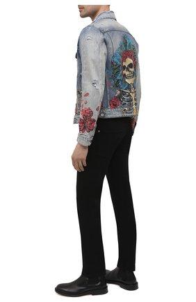 Мужская джинсовая куртка AMIRI синего цвета, арт. MDT005-408 | Фото 2 (Рукава: Длинные; Длина (верхняя одежда): Короткие; Материал внешний: Хлопок; Кросс-КТ: Куртка, Деним; Стили: Панк)