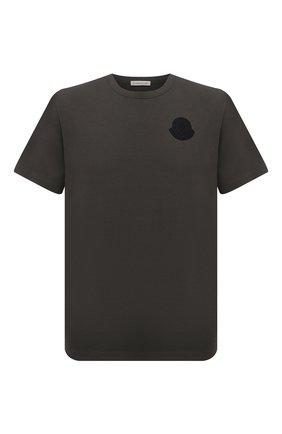 Мужская хлопковая футболка MONCLER хаки цвета, арт. G1-091-8C7E2-10-8390T | Фото 1