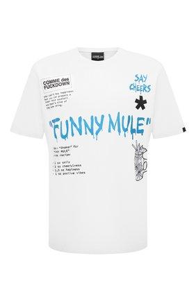 Мужская хлопковая футболка COMME DES FUCKDOWN белого цвета, арт. CDFU1144A | Фото 1