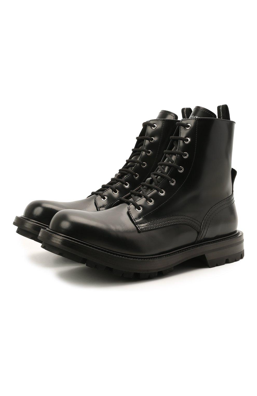 Мужские кожаные ботинки ALEXANDER MCQUEEN черного цвета, арт. 651621/WHZ80   Фото 1