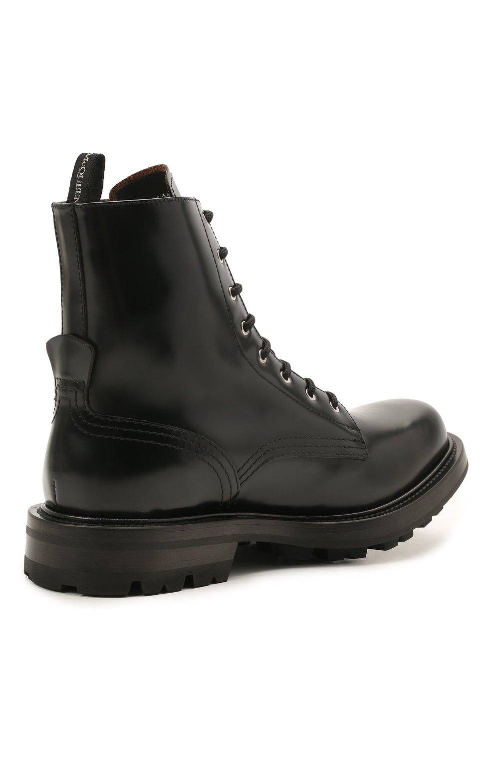 Мужские кожаные ботинки ALEXANDER MCQUEEN черного цвета, арт. 651621/WHZ80   Фото 4