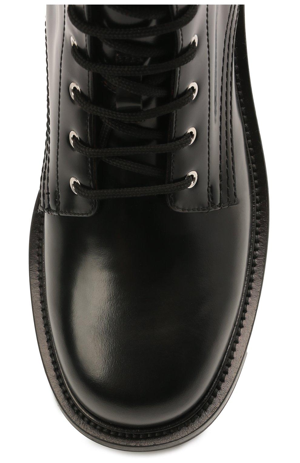 Мужские кожаные ботинки ALEXANDER MCQUEEN черного цвета, арт. 651621/WHZ80   Фото 5