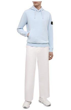 Мужской хлопковое худи STONE ISLAND голубого цвета, арт. 741564151   Фото 2