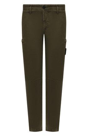 Мужские хлопковые брюки-карго STONE ISLAND хаки цвета, арт. 741532104 | Фото 1