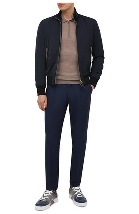 Мужские брюки из шерсти и льна LUCIANO BARBERA темно-синего цвета, арт. 114611/45022 | Фото 2