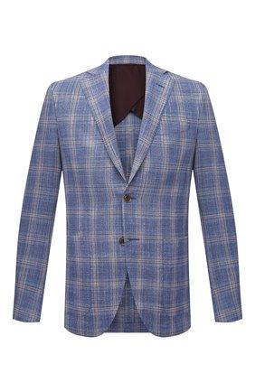 Мужской пиджак из шерсти и шелка LUCIANO BARBERA голубого цвета, арт. 111F25/15081 | Фото 1 (Материал внешний: Шерсть, Шелк; Рукава: Длинные; Длина (для топов): Стандартные; Материал подклада: Купро; 1-2-бортные: Однобортные; Случай: Коктейльный; Стили: Классический; Пиджаки М: Приталенный)