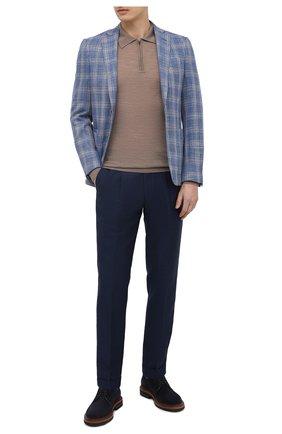 Мужской пиджак из шерсти и шелка LUCIANO BARBERA голубого цвета, арт. 111F25/15081 | Фото 2 (Материал внешний: Шерсть, Шелк; Рукава: Длинные; Длина (для топов): Стандартные; Материал подклада: Купро; 1-2-бортные: Однобортные; Случай: Коктейльный; Стили: Классический; Пиджаки М: Приталенный)