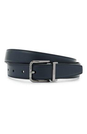Мужской кожаный ремень DOLCE & GABBANA темно-синего цвета, арт. BC4216/AV237 | Фото 1