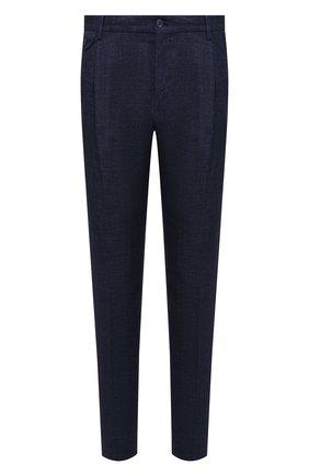 Мужские льняные брюки DOLCE & GABBANA темно-синего цвета, арт. GY6UET/HUMHJ | Фото 1