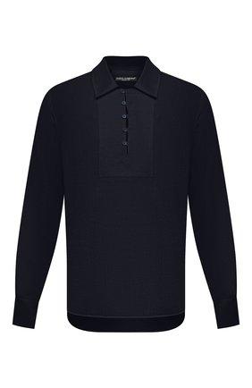 Мужская льняная рубашка DOLCE & GABBANA темно-синего цвета, арт. G5HD4T/FU4IK | Фото 1